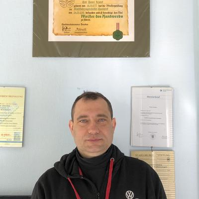 Werkstattmeister Pawel Jezutek